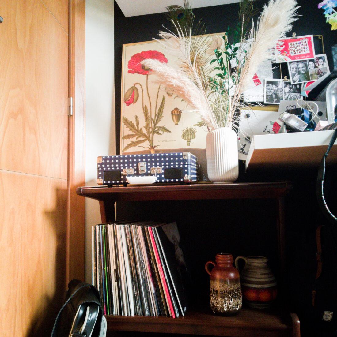 vaas, bloemenposter, kastje met platen