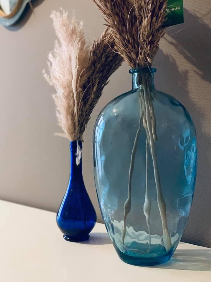 close-up 2 blauwe vazen